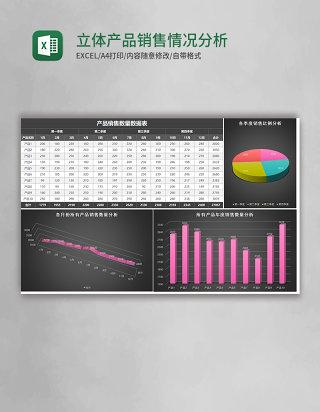 黑色立体产品销售情况分析excel模板