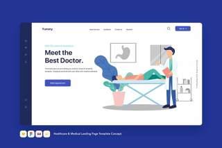 医疗保健和医疗登录页模板医生看病概念EPS矢量插画设计Healthcare & Medical Landing Page Template Concept