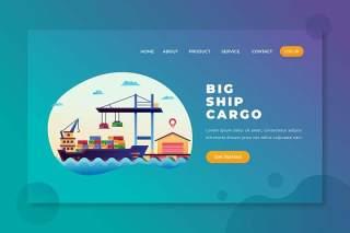 大船货物船运PSD和AI矢量登陆页UI界面插画设计素材Big Ship Cargo - PSD and AI Vector Landing Page