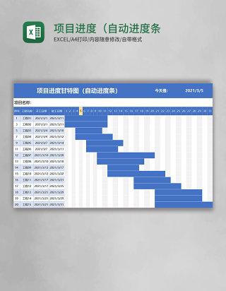 蓝色项目进度甘特图(自动进度条)excel模板