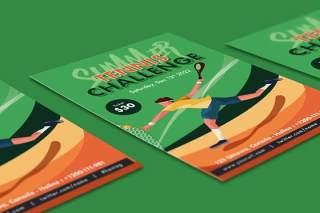 绿色网球挑战传单DM单页EPS矢量插画设计模板Tennis Challenge Flyer Illustrator Template