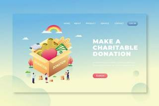 慈善捐赠-PSD和AI登录页UI界面插画设计素材Make Charitable Donation - PSD and AI Landing Page
