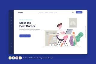 医疗保健和医疗登录页模板预约医生概念EPS矢量插画设计Healthcare & Medical Landing Page Template Concept