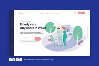 医疗保健和医疗登录页模板医护概念EPS矢量插画设计Healthcare & Medical Landing Page Template Concept