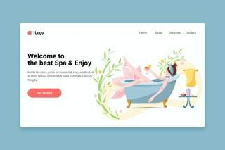 登录界面Spa平面web模板EPS矢量插画设计Spa flat web template for Landing page