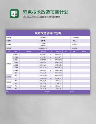 紫色技术改造项目计划表excel模板