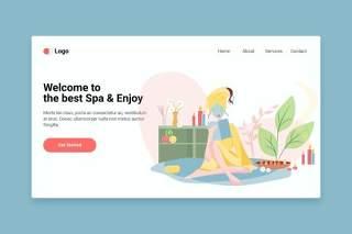 用于登录页的Spa平面web模板EPS矢量插画设计Spa flat web template for Landing page
