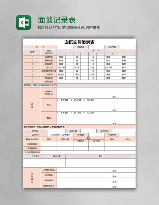 面谈记录表excel表格模板excel表格模板