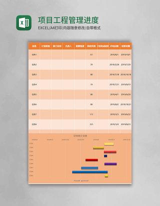 项目工程管理进度甘特图表excel模板