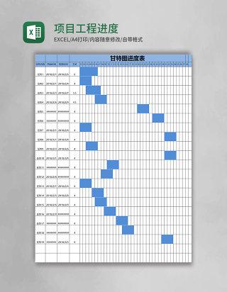 项目工程甘特图进度表格excel模板