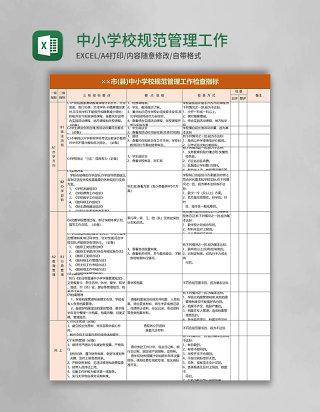 中小学校规范管理工作检查指标excel模板