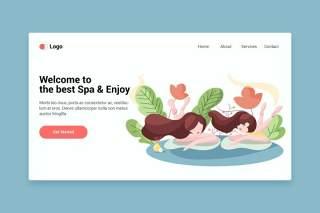登录页的Spa平面web模板EPS矢量插画设计Spa flat web template for Landing page