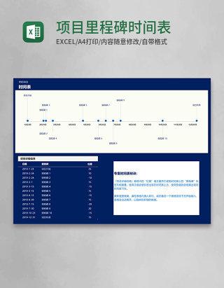 项目里程碑时间表(带数轴)Excel模板