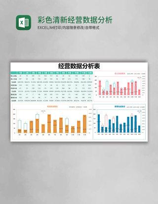 彩色清新经营数据分析表excel模版