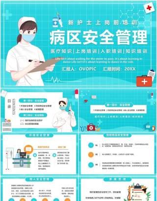 蓝色卡通风病区安全管理新护士上岗培训PPT模板