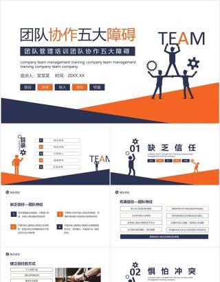 公司员工管理培训团队协作的五大障碍培训动态PPT模板