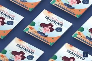 美女瑜伽训练广场EPS插画素材设计传单模板Beautiful girl yoga training square flyer template