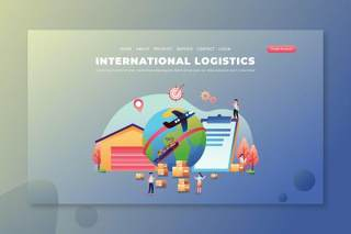国际物流PSD和AI登录页UI界面插画设计素材International Logistics - PSD and AI Landing Page