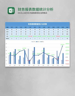 蓝色财务报表数据统计分析表excel模板