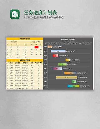 任务进度计划表甘特图Excel模板