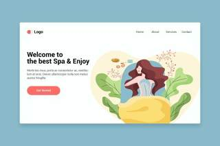 用于登录页的Spa平面web界面EPS矢量插画设计模板Spa flat web template for Landing page