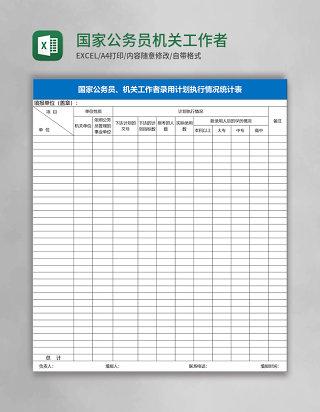 国家公务员机关工作者录用计划执行情况统计表Excel表格