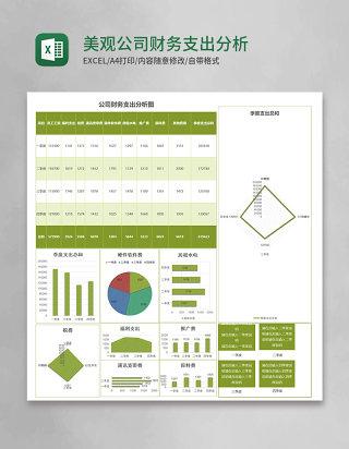 绿色美观公司财务支出分析报告excel模板