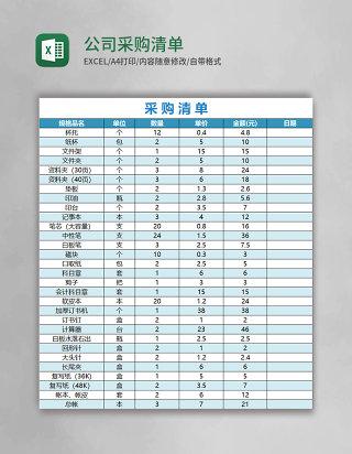 公司采购清单表格excel表格模板