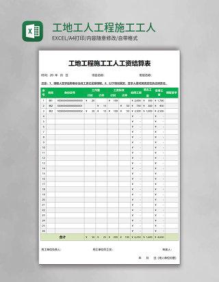 工地工人工程施工工人工资结算表模板