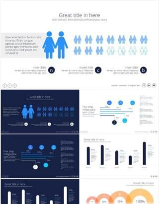 用户人群数据分布图形图表分析PPT素材Data Distribution