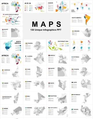 130页超实用全球世界各地分区域非洲亚洲大洋洲欧洲北美南美可编辑地图PPT模板