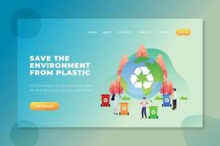 保护环境不受塑料的影响PSD登录页UI界面插画素材设计Save The Environment From Plastic - PSD AI Landing