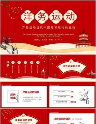 红色洋务运动近代中国经济结构的变动动态PPT模板