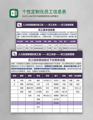 个性定制化员工信息表