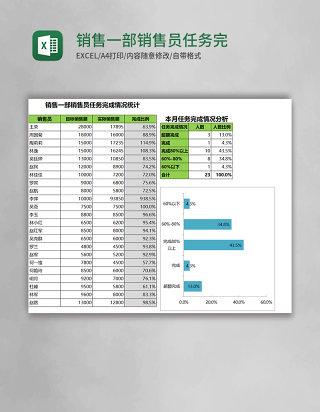 销售一部销售员任务完成情况统计Excel模板