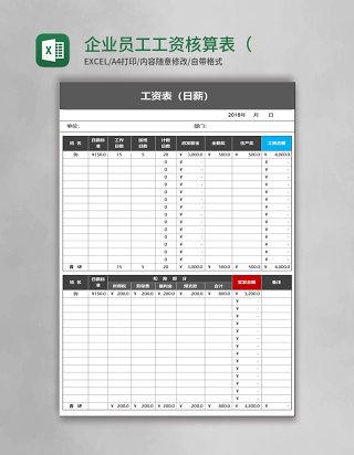 企业员工工资核算表(日薪工资员工通用)