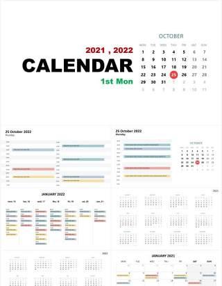 2021-2022年日历第一个星期一PPT素材图表Calendar 1st Monday