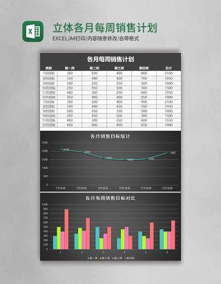 黑色立体各月每周销售计划表excel模板