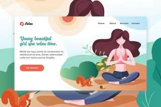 年轻漂亮女孩水疗瑜伽网站EPS矢量插画设计模板登录页Young Beautiful Girl Spa web template Landing Page