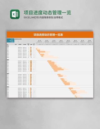 项目进度动态管理一览表excel模板