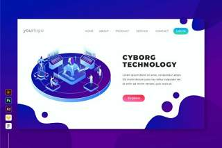 机器人技术-2.5D等距插画登录页界面设计素材Cyborg Technology - Isometric Landing Page