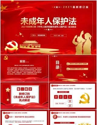 红色党政风未成年人保护法知识讲解PPT模板