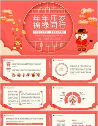 年年压岁福禄同行人人收入三万元春节早会专题片动态PPT模板