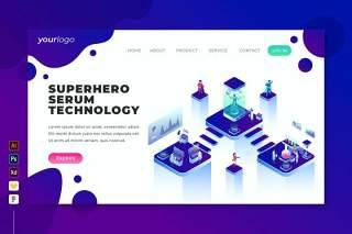 超级英雄血清技术登录页界面2.5D等距插画设计素材Superhero Serum Technology - Landing Page