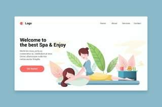 美容spa平面网页模板登陆页面EPS插画素材Beauty spa flat web template for Landing page