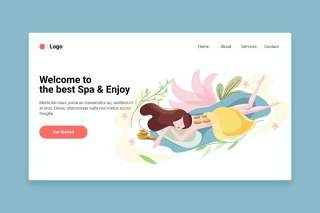 登录页Spa平面web模板EPS矢量插画设计Spa flat web template for Landing page