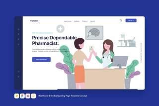 医疗保健和医疗登录页模板医药费用单概念EPS矢量插画设计Healthcare & Medical Landing Page Template Concept