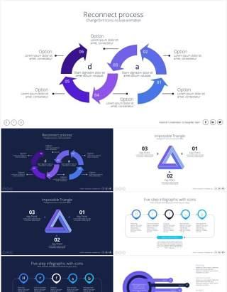 创意循环步骤信息图表PPT素材Cycle