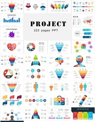 多功能商务项目计划饼图拼图圆形图表图形PPT素材!Project