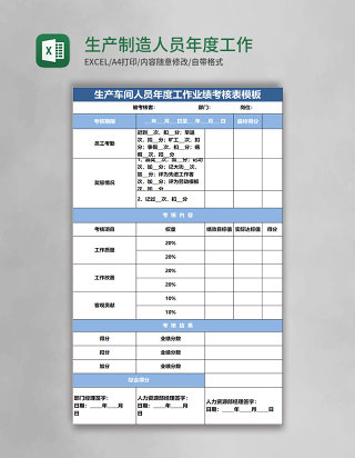 生产制造人员年度工作业绩考核表 Excel表格